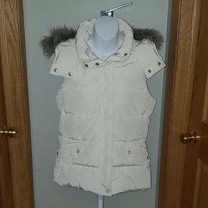Talbots Down Vest w/ Detachable Faux Fur Hood